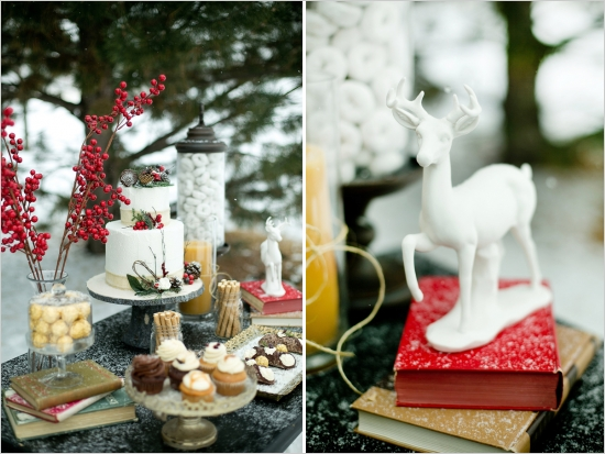 white reindeer styled wedding cake table in the snow