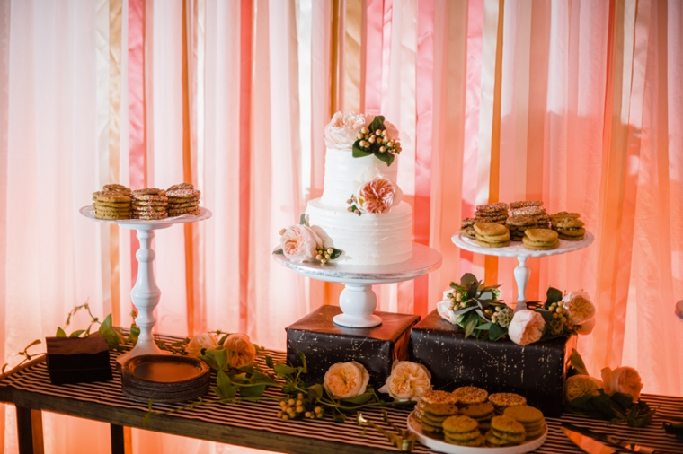pink streamers cake table