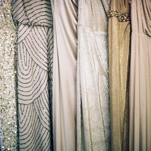 glitter bridesmaid dresses hanging