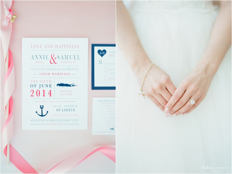 pink and navy wedding invitations and bride wearing bracelet representing grandmother
