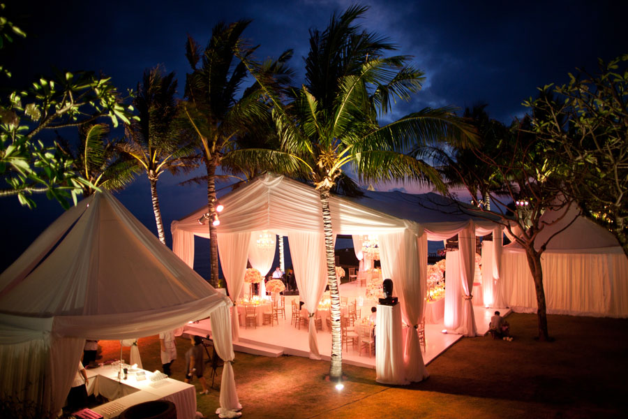 View of marquee wedding tent lavishly decorated