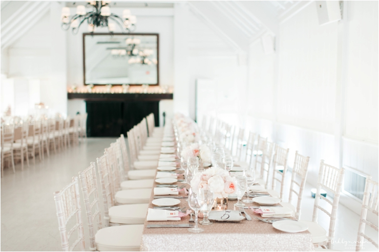 White Washed Room With Two Kings Tables Sequin Linens And Peach Peonies