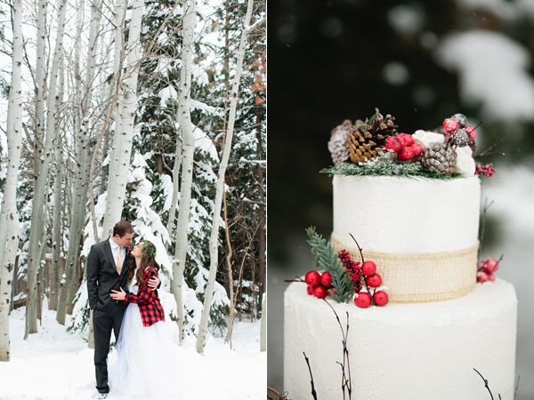 bride and groom looking at each other in the snow, christmas wedding cake