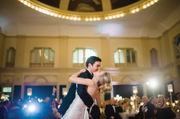 bride and groom dancing at black tie wedding