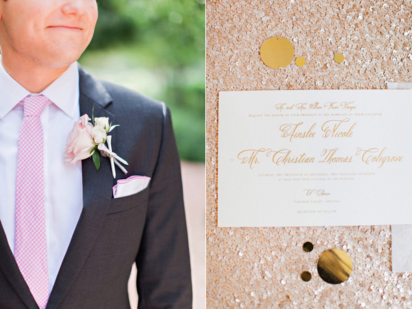 groom black tux with pink tie and gold and white wedding invitations