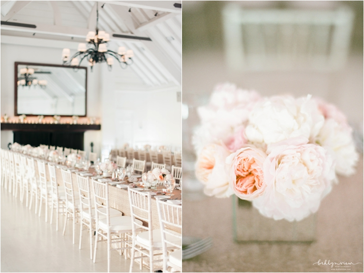wedding kings table with gold linens, white chairs and peach peonies in mirrored flower boxes
