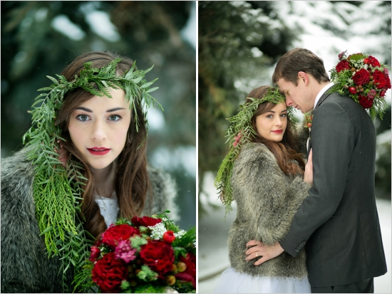 evergreen crown, deep red wedding flowers, bride and groom in the snow