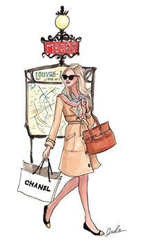 Drawing of blonde lady shopping with Chanel bag, after Christmas sales, Christmas sales, Christmas sale, Christmas