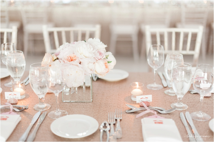 sequin linens, peach peonies and mirrored flower boxes
