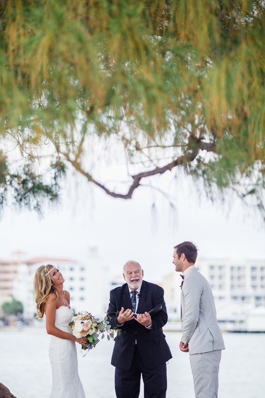 wedding officiant laughing