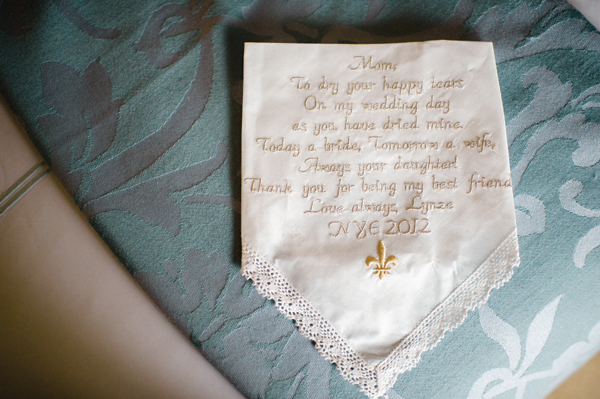 handkerchief embroidered with note from the bride to her mom
