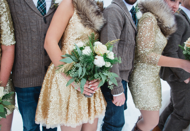 glittery gold bridesmaid dresses and groomsmen in jeans and chunky knit sweaters