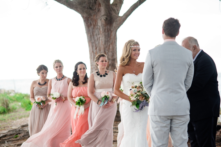 vintage bridal party, mix matched bridal party gowns