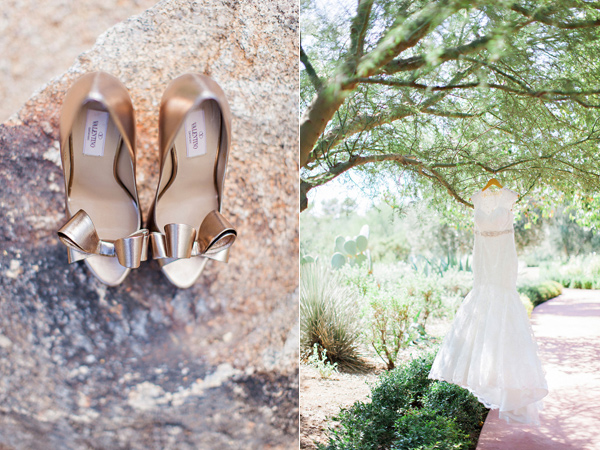gold Valentino pumps and wedding dress hanging on a tree