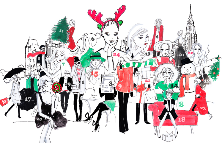 Henri Bendel drawing of girls and countdown before Christmas