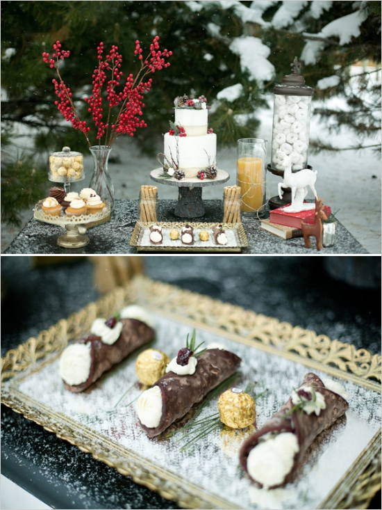Christmas inspired wedding shoot in the snow, Christmas cake table