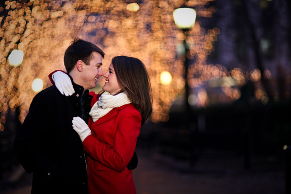 Red peacoat, engagement shoot