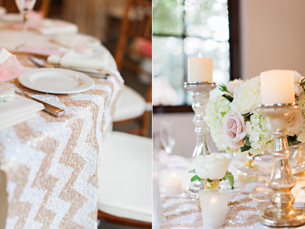 chevron pattern table linen, sequin table linen and silver candle holders