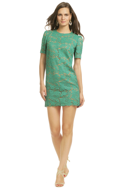 msgm green lace dress