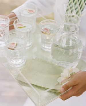clear serving tray with water garnished with figs