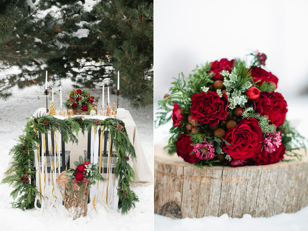 Christmas inspired wedding sweetheart table in the snow and red wedding bouquet