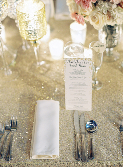 glitter wedding linens and New Years Eve wedding menu