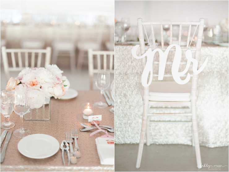 back of chair Mr. sign and sequin linens with small peach peony bouquets