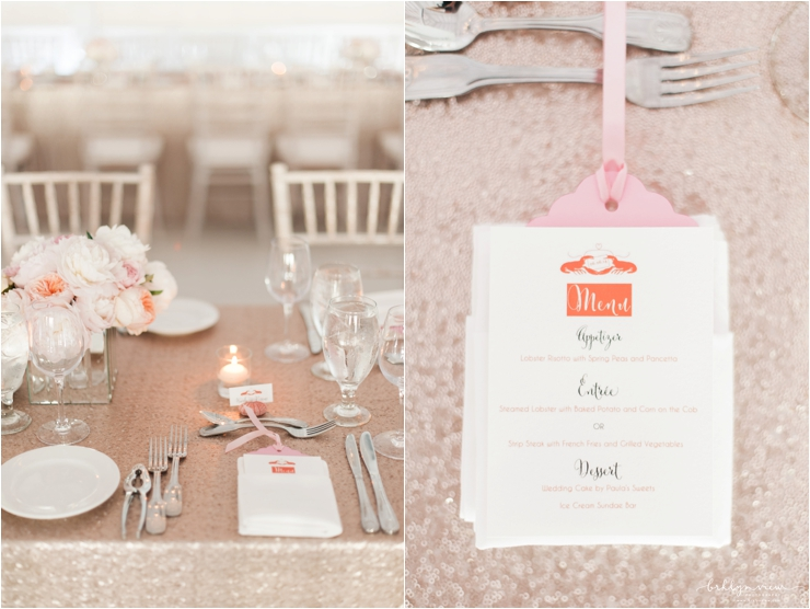custom white and orange lobster invitations and sequin linens and mirrored flower boxes