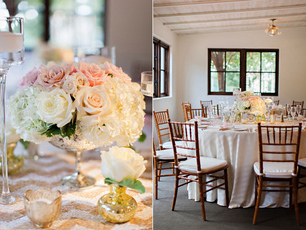white and blush wedding flowers with silver vase