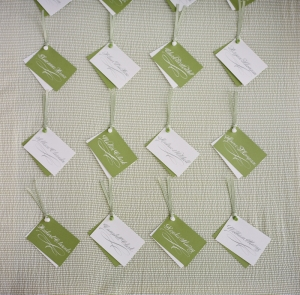 hanging green and white escort cards