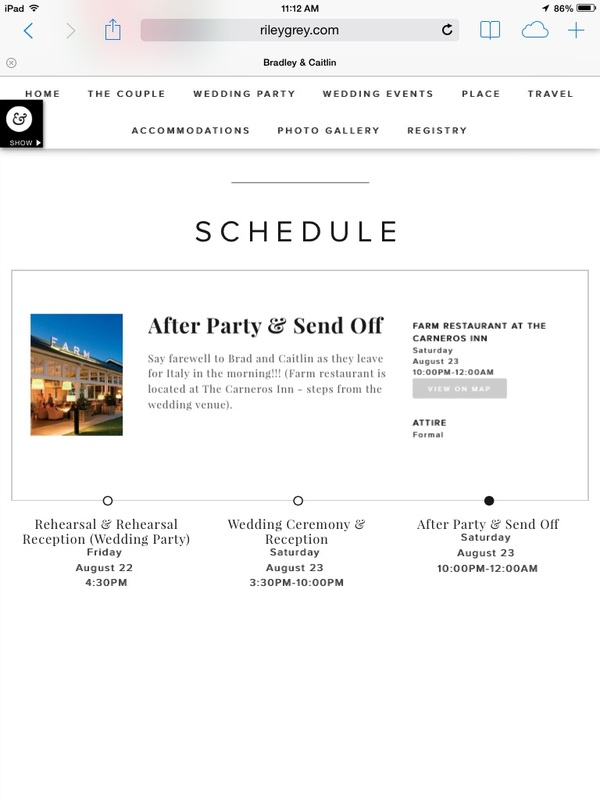 schedule page on wedding website features wedding events: after party and send off