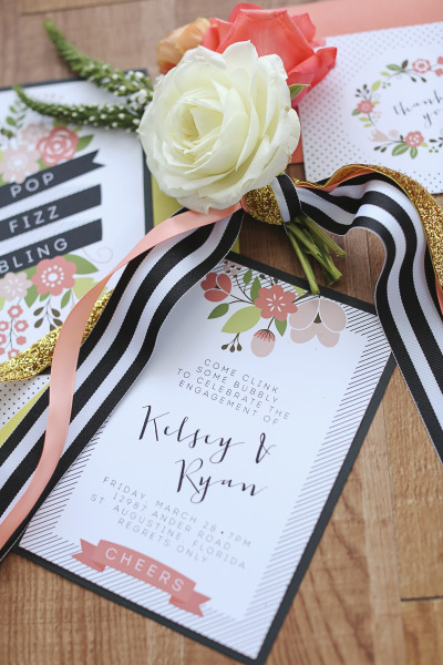 coral and navy floral wedding invitations