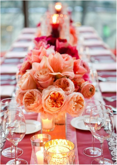 peach and red wedding table setting