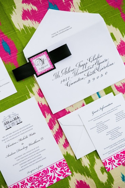 white, green and pink wedding invitations