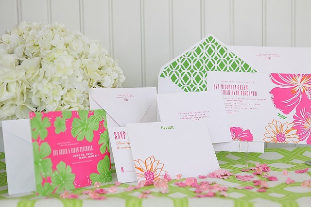 bright pink and green modern wedding invitations