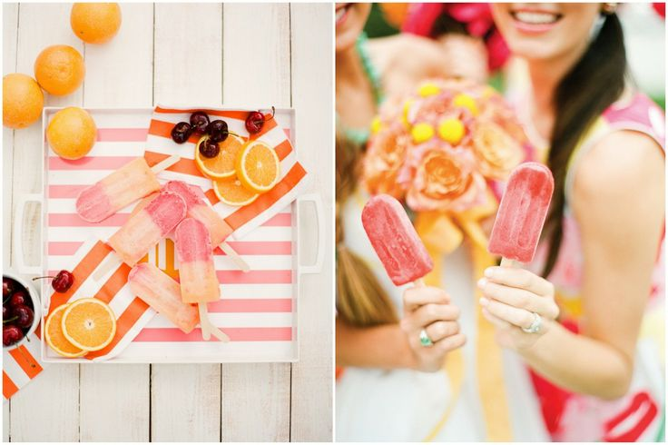 oranges and Popsicle for a summer wedding