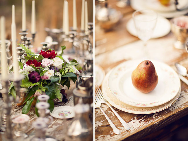 vintage candelsticks and pear place setting