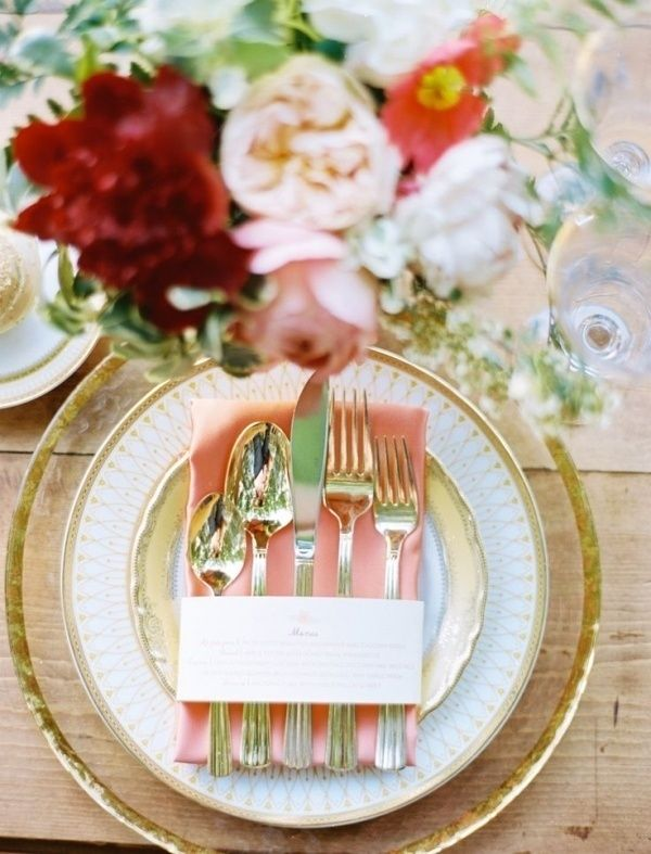 peach, marsala and gold table setting