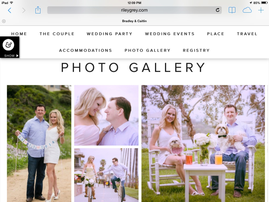 photo gallery page on wedding website, photos from engagement session
