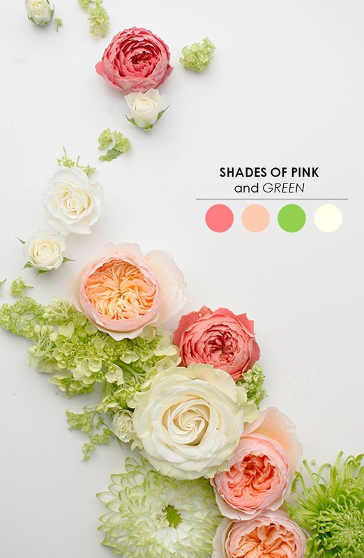 pink and white roses and green wedding inspiration