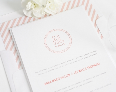 peach and white modern wedding invitations