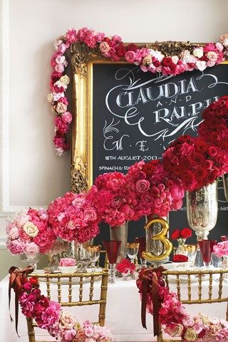 pink and red ombre wedding flowers on dinner sign