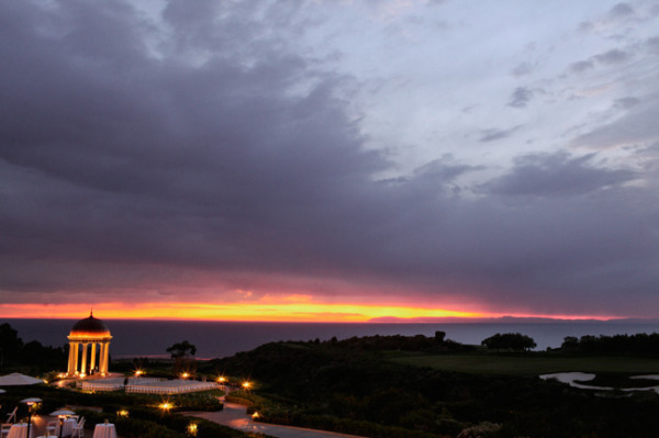 Stunning sunset on the ocean from Pelican Hill Resort