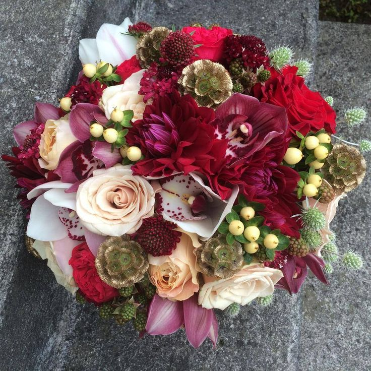 gold, maroon and ivory wedding bouquet