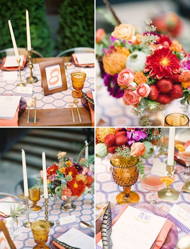 peach, red and purple table setting