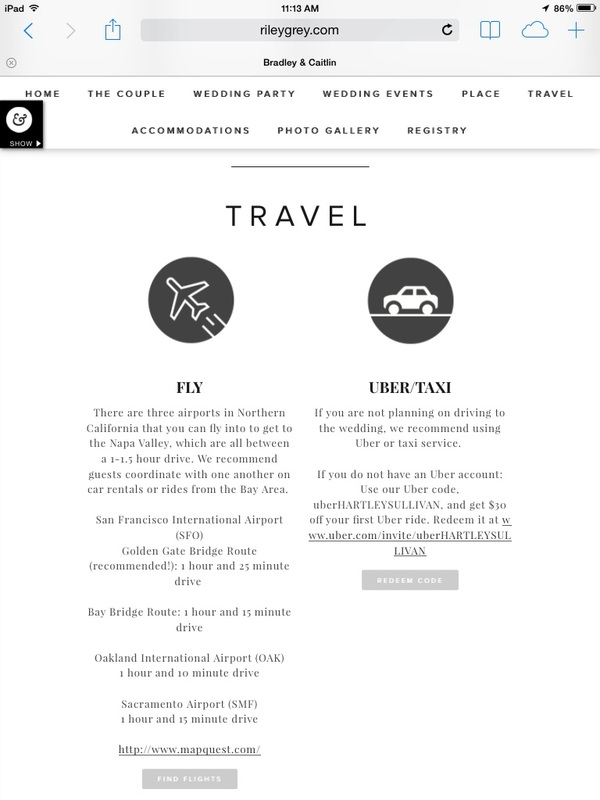 wedding website travel page where to fly into and driving directions