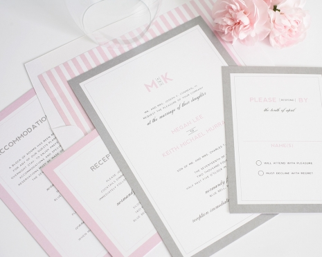 pink and grey wedding invitations