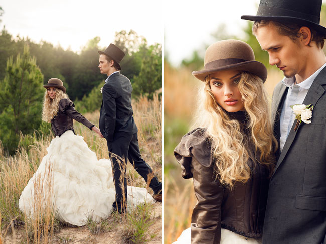 bride holding grooms hand in vintage styled shoot