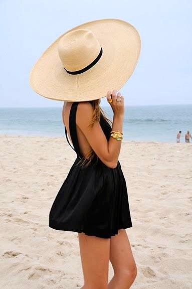floppy tan hat with black short beach dress