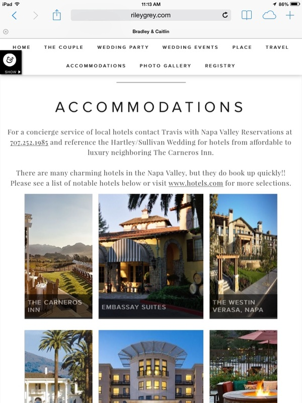 accommodations page on wedding website, recommended hotels